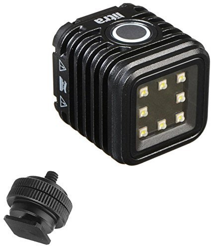 LitraTorch Waterproof Dimmable 8-LED Digital Camera / Camcorder Video Light For DSLR and Action Cameras w/ Ivation On-Camera Hotshoe Mounting Solution by Litra