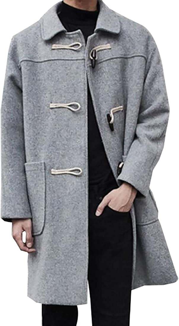 Miracle Mens Horn Buckle Fit Wool Blend Overcoat Pea Long Trench Coat
