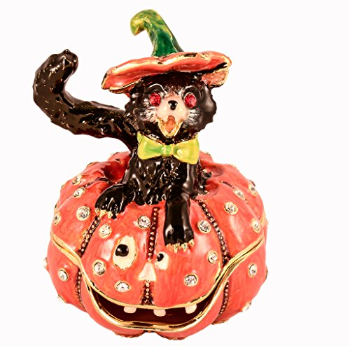 - Halloween Cat with Pumpkin Trinket Box, Clear Swarovski Crystal, Hand Painted Orange Black Enamel Over Pewter, Inside of Box with Lovely Enamel, L 2.25 X H 2.75 X W 2.25