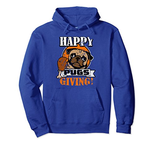 Unisex Happy Pugs Giving Hoodie - Pug Gifts - Distressed Pug Hoodie Small Royal Blue - Gift Giving Hoodie