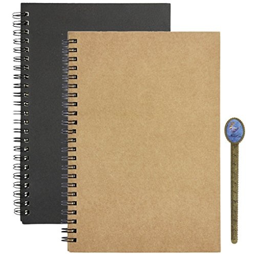 Recycled Cardboard Journal (Spiral Memo Notepads Mini Blank Sketchbook Kraft Paper Hardcover Journal Planner Agenda Notebook Pocket Size 2 Pack)