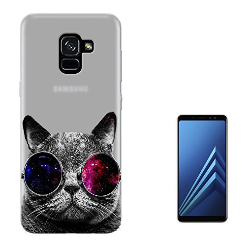 c00074 - Cool Cat Sunglasses Fashion Trend Design Samsung Galaxy A8 (2018) Case Gel Silicone All Edges Protection Case - 2018 Trends Sunglasses
