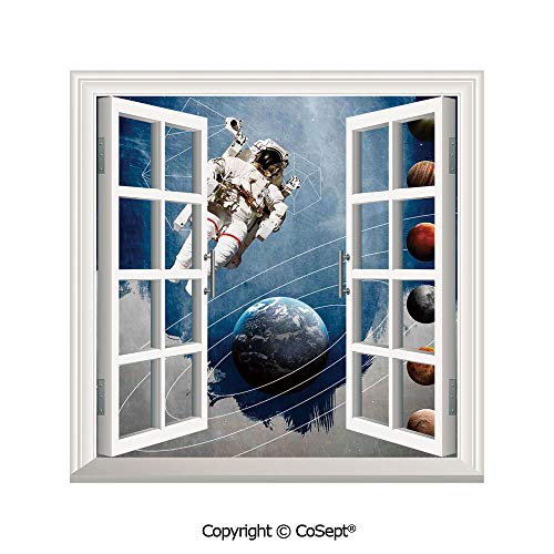 SCOXIXI Creative Window View Wall Decor,Planetary Circles with Geometric Figures Neptune Astral Rocket Vintage Print,Window Stickers Have Beautiful Scenery(25.86x22.63 inch) -