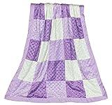 Zoe Purple Minky Dot Patchwork Blanket, Reverses to Lavender Satin