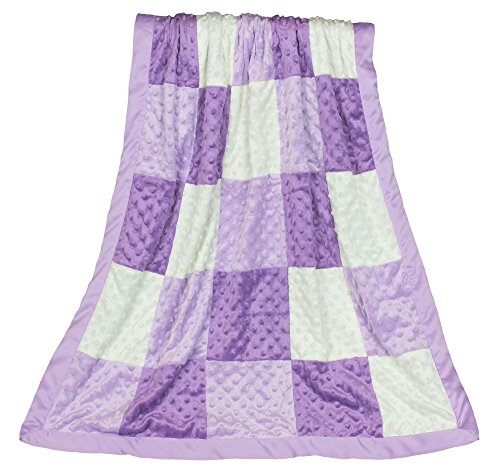 Zoe Purple Minky Dot Patchwork Blanket, Reverses to Lavender
