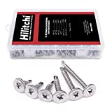 Hilitchi 410 Stainless Steel Wafer Head Phillips Self Drilling Screws Sheet Metal Tek Screws Assortment Kit, Modified Truss Head Self Driller - Size: #8 x 1/2'' ~ #8 x 1-1/2'' (Pack of 240)