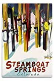 Lantern Press Steamboat Springs, Colorado - Colorful Skis (12x18 Aluminum Wall Sign, Wall Decor Ready to Hang)