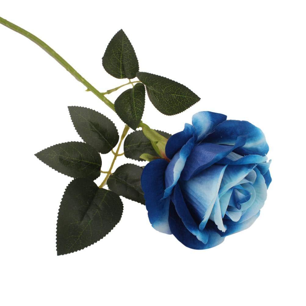Artificial Flowers, MaxFox Fake Silk Rose Bouquet Bridal Leaf Flower Bouquets Home Office Wedding Party Decor (Blue)