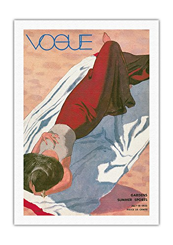 Fashion Magazine - July 15, 1933 - Lady on Beach - Gardens, Summer Sports - Vintage Magazine Cover by Pierre Mourgue c.1933 - Fine Art Rolled Canvas Print 27in x 40in