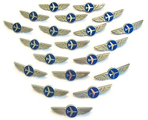 Aviator Kids Pilot Wings Plastic Pins Pinbacks Badges Lot of 20 Pins Silver