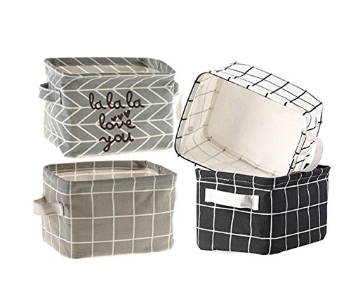 Storage Baskets Collapsible Fabric Storage Bin Organizers Box Cute Nursery for Makeup, Books, Kids Toys, Shelves & Desks Storage - Set of 4 (Grid)
