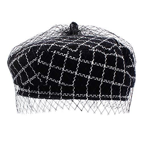 Danse Jupe Women Classic Tweed Tartan Beret British Retro Artist Beanie Hat Cap (Black)