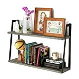 RooLee 2-Tier Floating Shelves Wall Mounted Rustic Wood Shelves Book Shelves Perfect Room Decor (Weathered Grey)