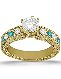 14k Gold Antique Style Vintage White and Blue Diamond Engagement Ring