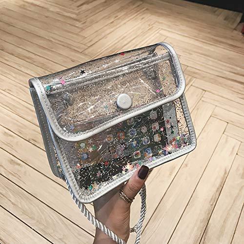 Fille marée carré été Bag Petit Femme Transparent à Mode WSLMHH Argent Messenger Sac Sac bandoulière rond Sauvage Sac SxwqOzZEA