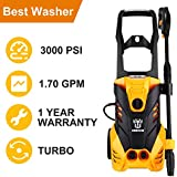 DEKO Electric Power Pressure Washer 3000 PSI 1.7 GPM with Power Hose Nozzle Gun, High Pressure Washer with Turbo Nozzle,1800W Rolling Wheel,Integrated Hose Reel,Built in Foam Dispenser