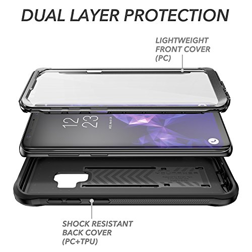 YOUMAKER Galaxy S9 Case, Heavy Duty Protection Kickstand with Built-in Screen Protector Shockproof Case Cover for Samsung Galaxy S9 5.8 inch (2018 Release) - Black by YOUMAKER (Image #4)