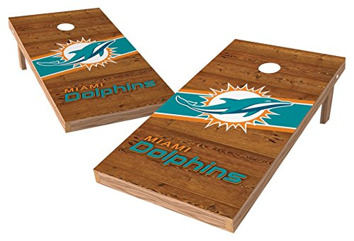 PROLINE NFL Miami Dolphins 2'x4' Cornhole Board Set with Bluetooth Speakers - Logo Design by PROLINE