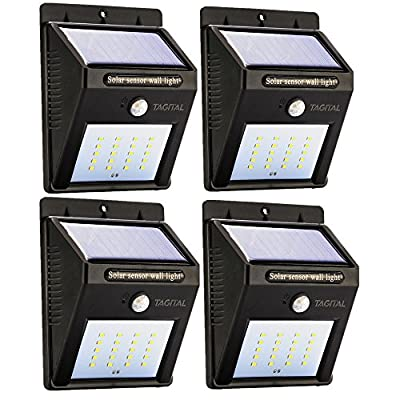 Tagital Solar LED Lights 20 LED Wireless Waterproof Motion Sensor Outdoor Light for Patio, Deck, Yard, Garden with Motion Activated Auto On/Off (4-Pack)