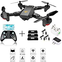 XS809W Foldable RC Quadcopter with Altitude Hold FPV VR Wifi Wide-angle 720P 2MP HD Camera 2.4GHz 6-Axis Gyro Remote Control XS809HW Drone + 3Pcs Battery + 3Pcs USB Charging Cable + 1 to 3 Charger