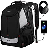 Large Laptop Backpack, 17 Inch Laptop Backpack with USB Charging Port for Men and Women,TSA Laptop Backpacks College School Backpack Business Computer Bookbag Fit 17in laptops,Black