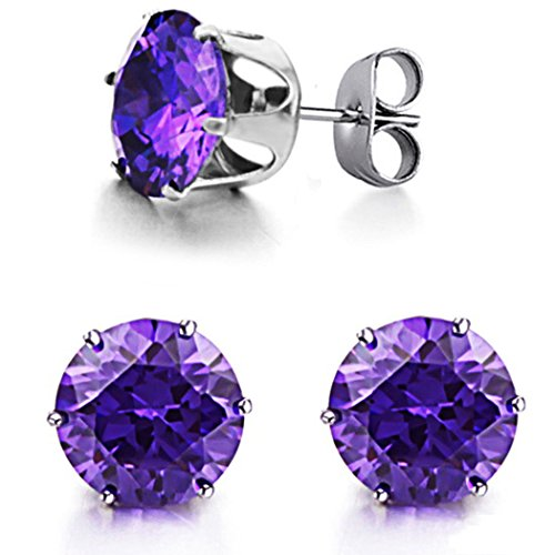 OPK Jewelry Women's Earrings Purple Shiny CZ 3.6ct 10mm 316L Titanium Steel Stud Earrings