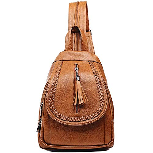 (Sling Backpack Leather Convertible Purse Small Shoulder Bag for Women (Brown1))