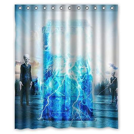 Custom Bath Curtain Hot Sales Doctor Who Police Box Shower Curtain 66 X 72  Inches High