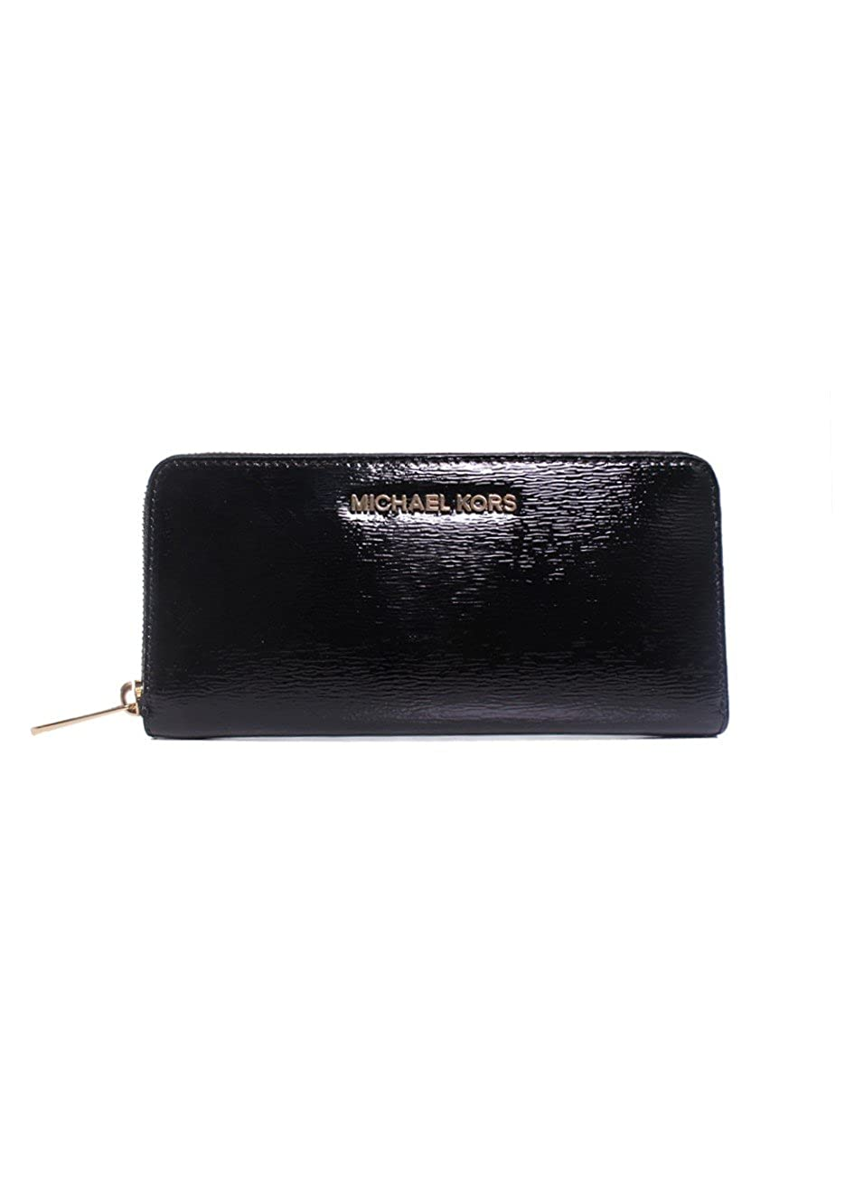 481a62e8e4fe Michael Kors Jet Set Travel Black Patent Leather Zip Around Continental  Accordion Wallet: Handbags: Amazon.com