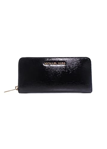 2bef91061a9b Michael Kors Jet Set Travel Black Patent Leather Zip Around Continental  Accordion Wallet: Handbags: Amazon.com
