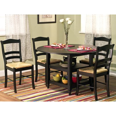 Target Marketing Systems 5 Piece Paloma Dining Set with 4 Rush Seat Chairs and 1 Drop Leaf Dining Table, Black