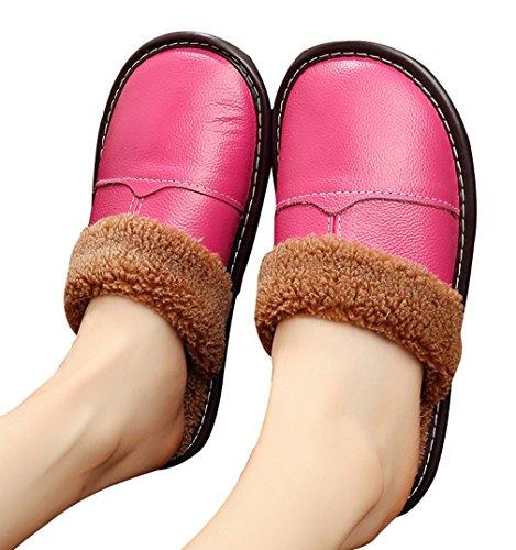 Pantofole Da Donna Calde Di Cattior Comode Pantofole In Pelle Rosa Rossa