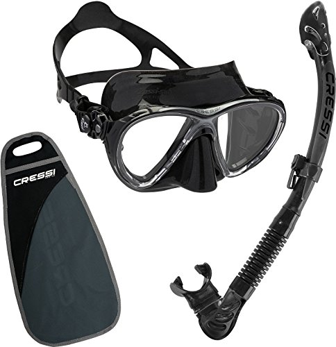 Cressi Big Eyes Evolution Mask and Alpha Ultra Dry Snorkel Combo (Black/Black) - Alpha Combo