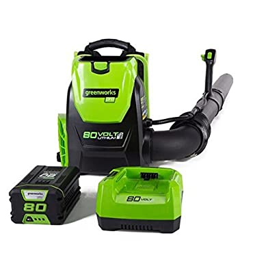 GreenWorks BPB80L2510 80V 145MPH 580CFM Cordless Backpack Blower, 2.5Ah Battery and Charger Included
