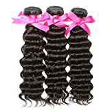 DSOAR Pack of 3 Unprocessed Brazilian Virgin Hair 100g/bundle Deep Wave Remy Brazilian Sexy Wavy Human Hair Weave Extensions-18''20''22''