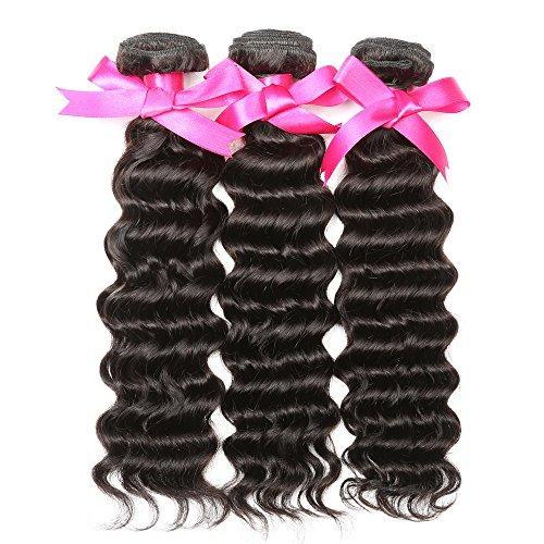 DSOAR Pack of 3 Unprocessed Brazilian Virgin Hair 100g/bundle Deep Wave Remy Brazilian Sexy Wavy Human Hair Weave Extensions-18''20''22'' by DSOAR