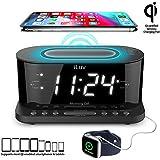 "iLuv Morning Call 5 Qi-Certified Wireless Charging Bedside Digital Alarm Clock, 1.2"" Jumbo LED Dual Alarm, FM Radio with 10 Presets, USB Charging Port, Sleep Timer, 3-Level Dimmer, Battery Backup"