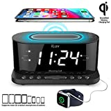 iLuv Wireless Charging Alarm Clock with Qi Certified, 1.2' Jumbo LED Dual alarm Clock , Radio Alarm Clock, FM 10 Preset, USB Charging Alarm Clock, Sleep Timer, 3 Dimmer,100 -240V AC Power