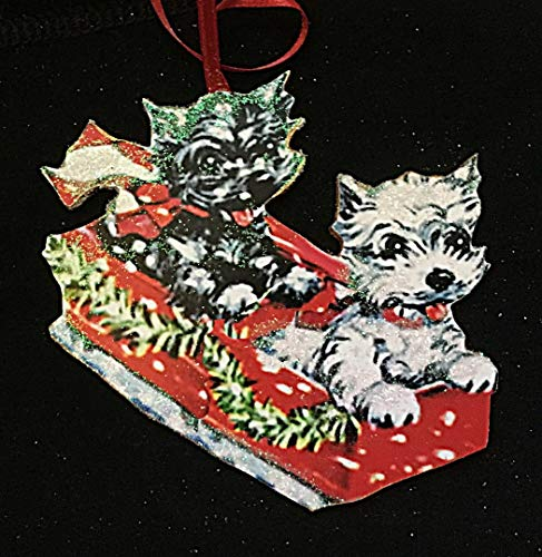 (Black & White Scotties Ornament, Handcrafted Wood Christmas Decoration, Mid-Century Modern Card, Dogs Puppies Magnet, Red Sled, Terriers)