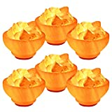 Crystal Allies: Natural Himalayan Salt Fire Bowl Lamp with Rough Salt Chunks & Dimmable Switch, 6'' - Pack Of 6