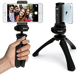iGadgitz PT310 Mini Lightweight Table Top Stand Tripod and Grip Stabilizer + Universal Smartphone Holder Mount Bracket Adapter – Black