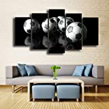 Canvas Art Soccer Painting Football Wall Pictures Modular Black Kit Framed Painting Home Decor for Boys & Men Gifts