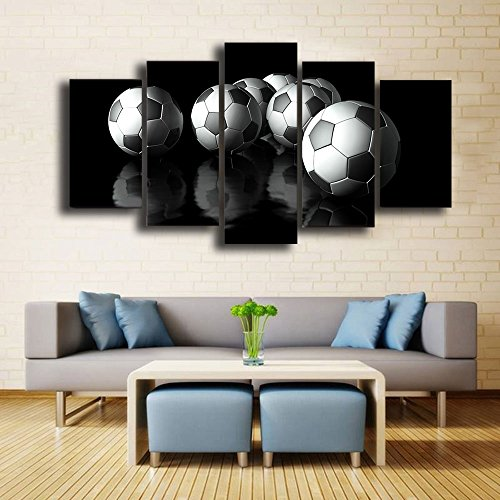 - Canvas Art Soccer Painting Football Wall Pictures Modular Black Kit Framed Painting Home Decor for Boys & Men Gifts