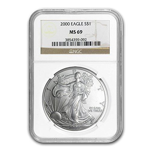 2000 Silver American Eagle MS-69 NGC 1 OZ MS-69 NGC