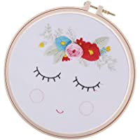 Baosity Cross Stitch Embroidery Kits Bashful Face Pattern for Beginners with Cross Stitch Hoop (20cm) Pre-Printed Embroidery Cloth