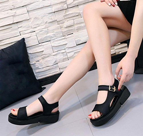 Sommer Sandalen dicke Kruste weibliche Schnallenschuhe Sandalen erhöht Black