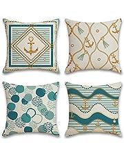 Decoratieve kussenhoes 45 x 45 cm, Sofa kussensloop set van 4, eenvoudige geometrisch katoen linnen kussenhoes voor bank, auto, slaapkamer, thuis, decoratie