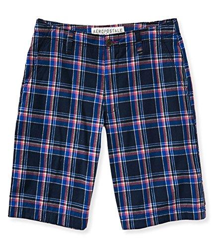 Aeropostale Mens Plaid Flat-Front Casual Bermuda Shorts, Blue, - Bermuda Aeropostale