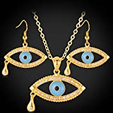 GDSTAR Gold Earrings Set 18K Gold Plated Trendy cystal Tear Evil Eye Jewelry Sets