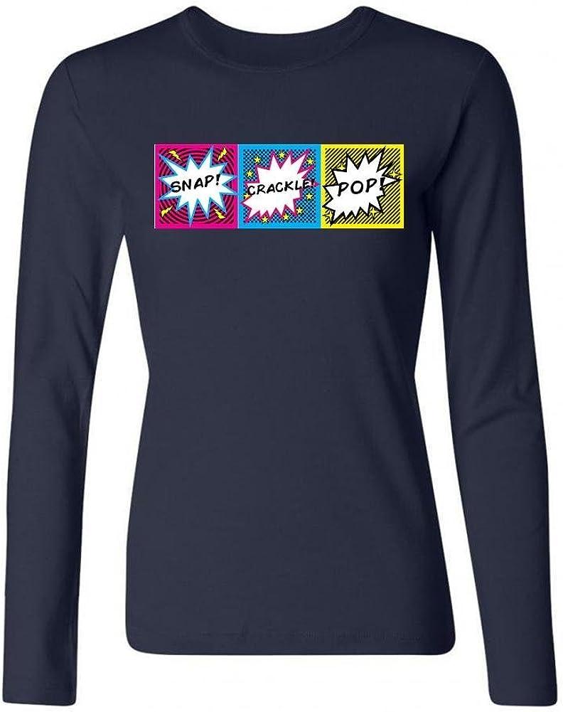 Tommery Playera de algodón de Manga Larga con Logo Pop Crackle para Mujer